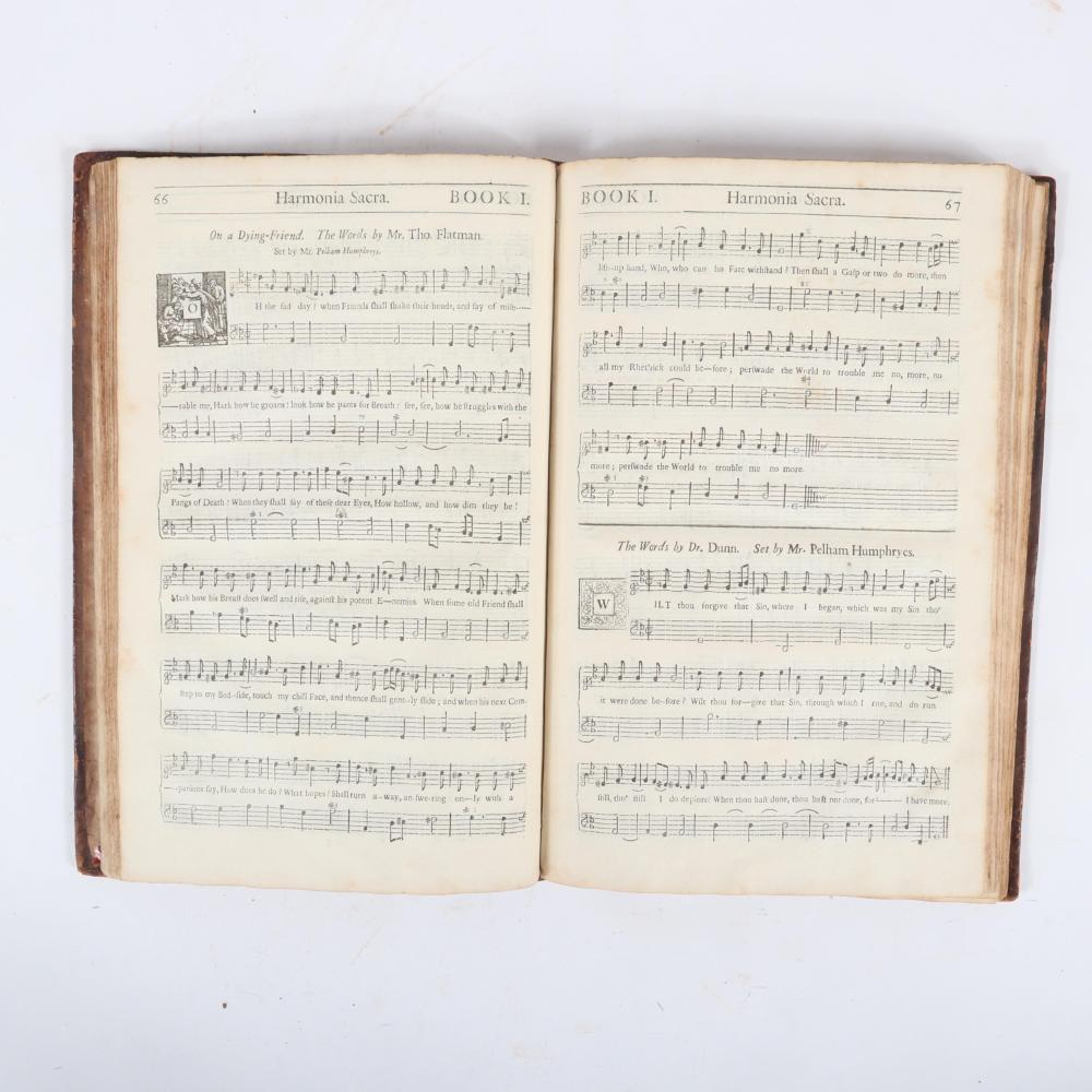 "Harmonia Sacra: or, Divine Hymns and Dialogs; with a Through-Bass for the Theorbo-Lute, Bass-Viol, Harpsichord, or Organ, London, Printed by William Person, 1703. 1""H x 8""W x 12 1/2""D"
