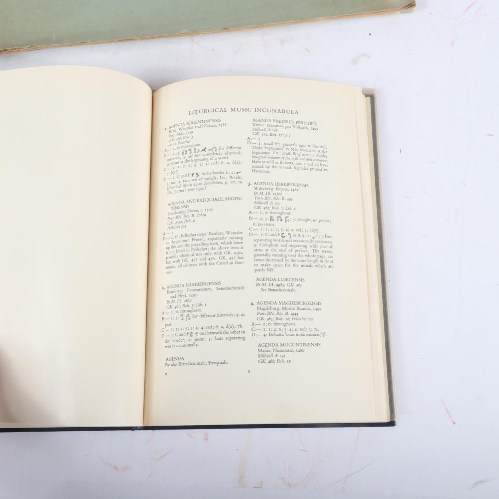 """Five Liturgical books/scores: Confidential The Diagnosis of Non-Congregational Church Music, Printed for Private Circulation, 1865; Spem In Alium Nunquam, Habui, Thomas Tallis. 19 1/2""""H x 14""""W (Spem in Alium)"""