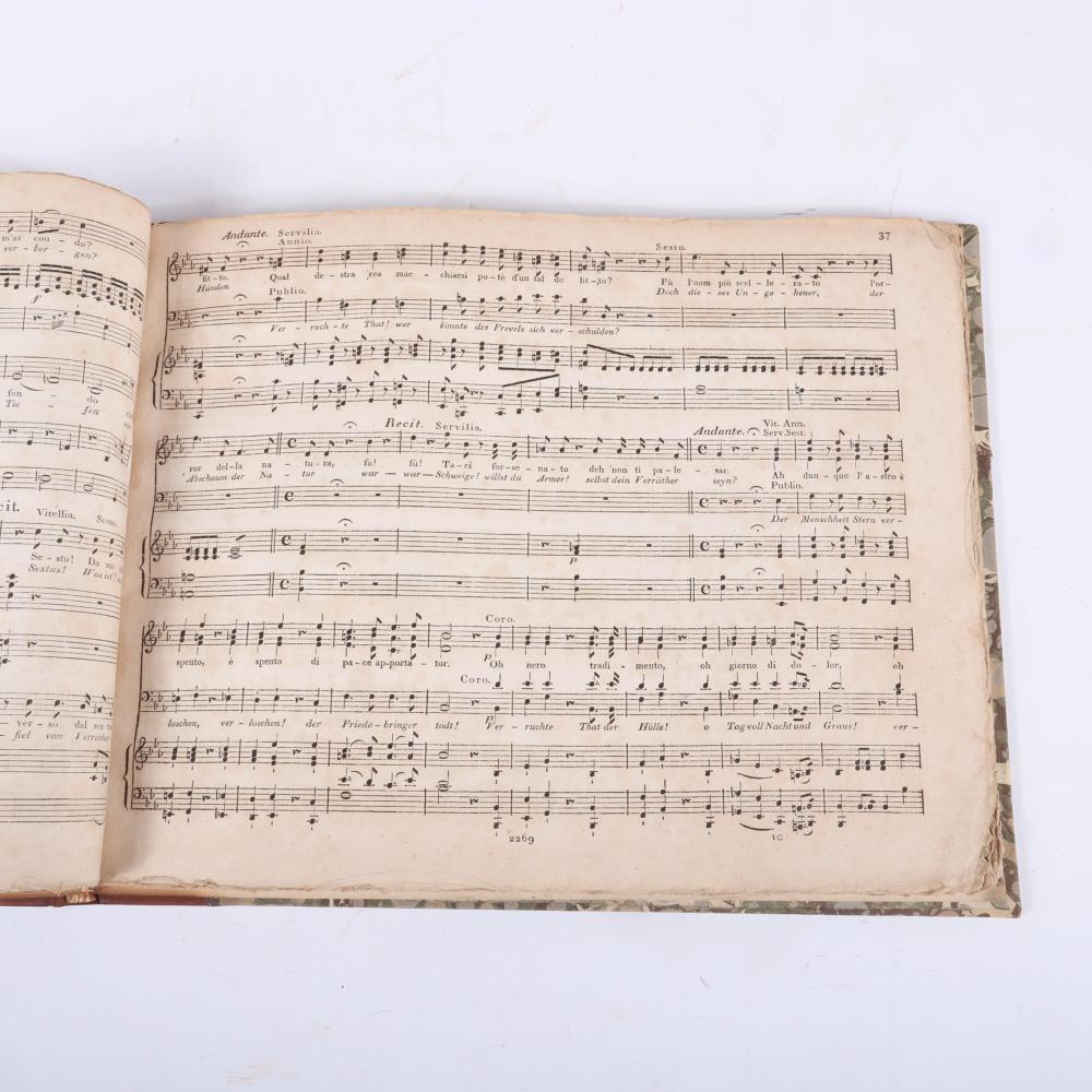"""La Clemenza Di Tito Opera seria composte da W. A. Mozart. Titus, Ernsthafte Oper in Envey Akten, Clavierauszug von A. E Muller, Bey Breitkopf und Harrtel, Leipzig, pre 1818. 3/4""""H x 14 1/4""""W x 11 1/4""""D"""