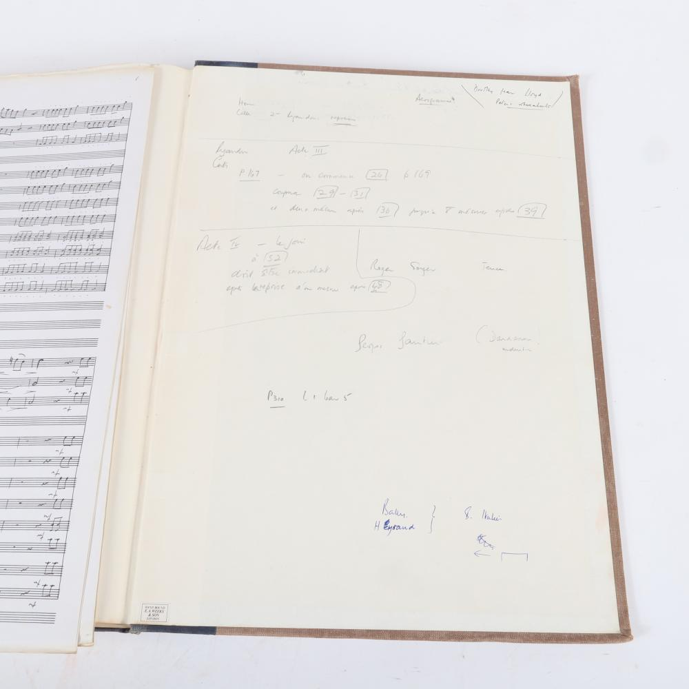 """Jean-Philippe Rameau, Dardanus, full score Performing Edition by Maestro Raymond Leppard, with hand-written notes and revised scores. 1 1/4""""H x 13""""W x 17 3/4""""D"""
