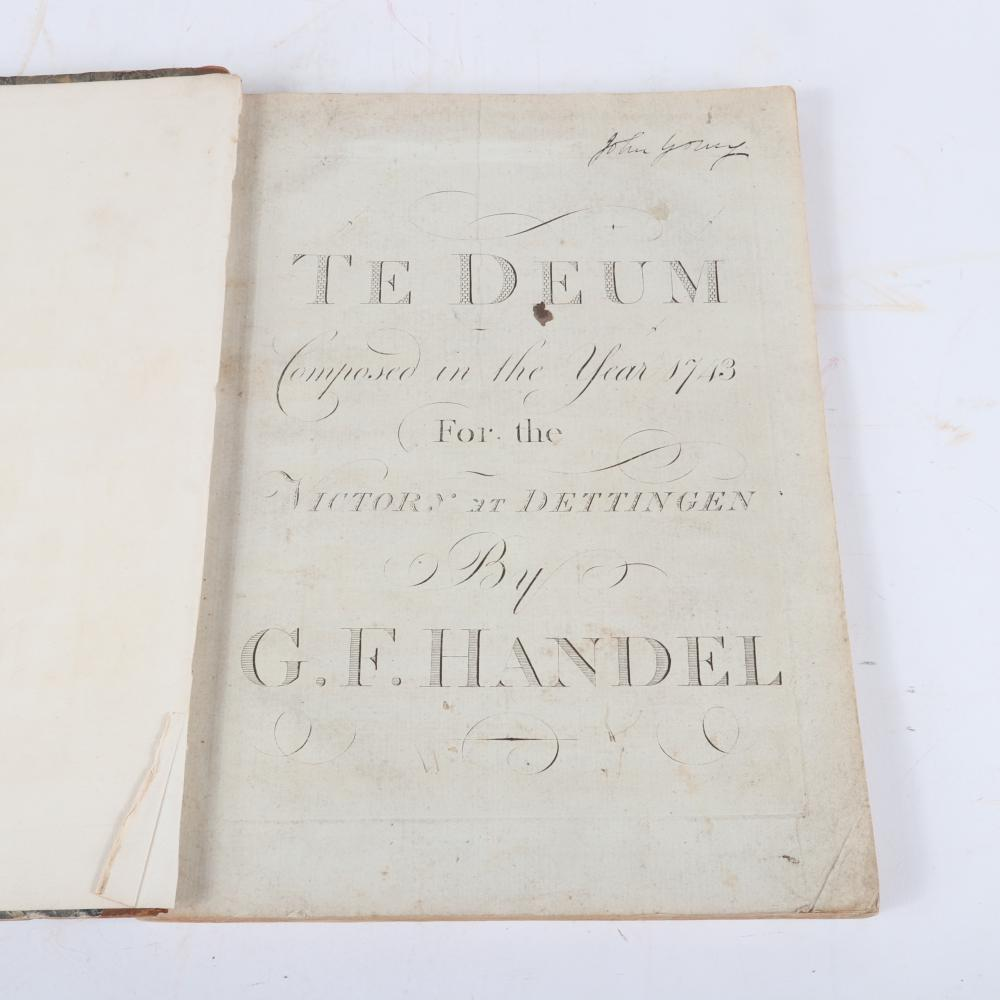 "Te Deum Composed in the Year 1743 for the Victory et Dettingen, by G. F. Handel, partial cover., 1/2""H x 10""W x 14""D"