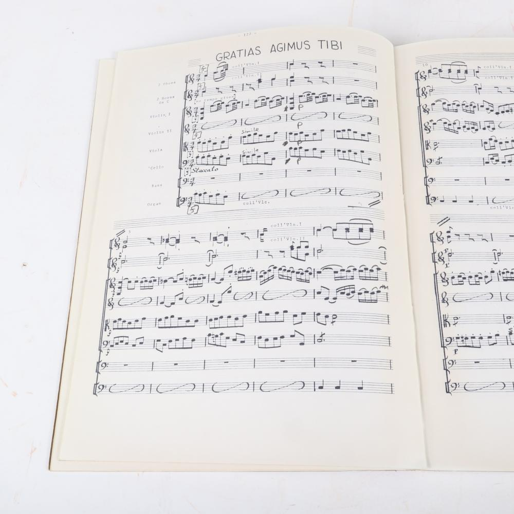 """Two orchestral scores for Johann Sebastian Bach Gloria in Excelsis Deo In D: Conductor's Score and Chorus Master copy, stamped B. B. C. Music Library. 1/2""""H x 11""""W x 15""""D (each)"""