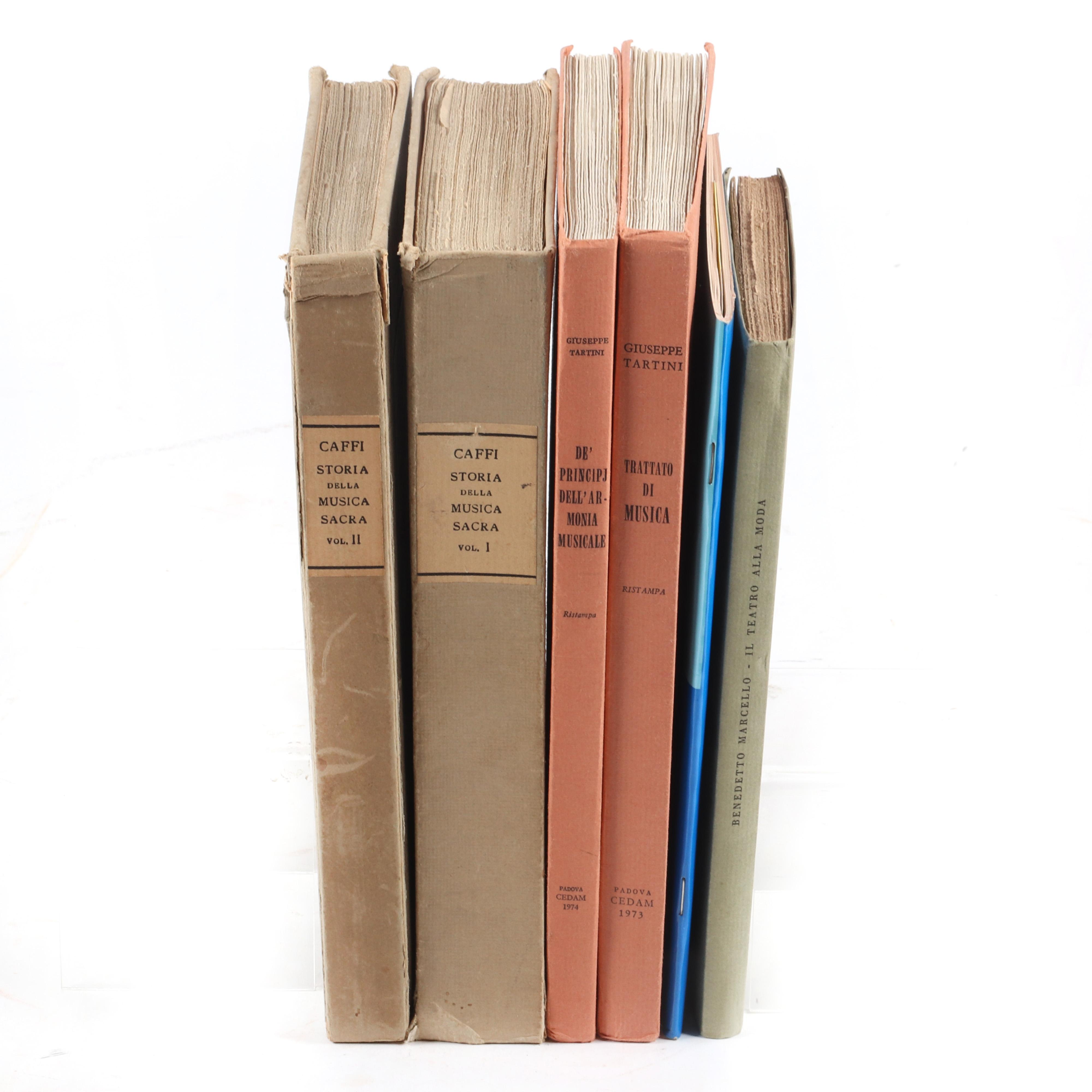 """Seven Italian Musical texts: Storia Della Musica Sacra, Di Francesco Caffi, Vol 1 & 2, 1931; Benedetto Marcello, Il Teatro Alla Moda, Ricordi, 1956; 1 1/4""""H x 5""""W x 7""""D (one)"""