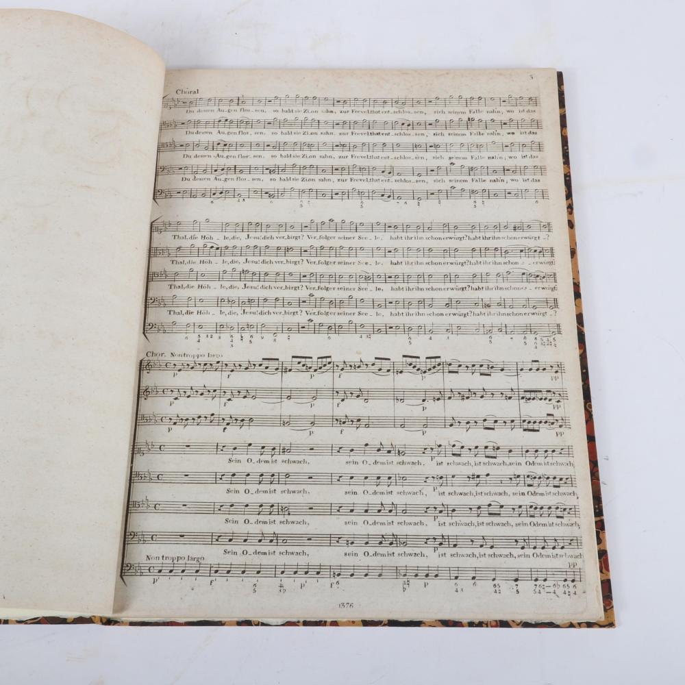 """Der Tod Jesu, Kantate in Musik gesetzt, von C. H Graun, Partitur Neu Ausgabe. Bey Breitkopf & Hartel in Leipzig, with 1809 pencil notation. 1/2""""H x 10 3/4""""W x 14""""D"""