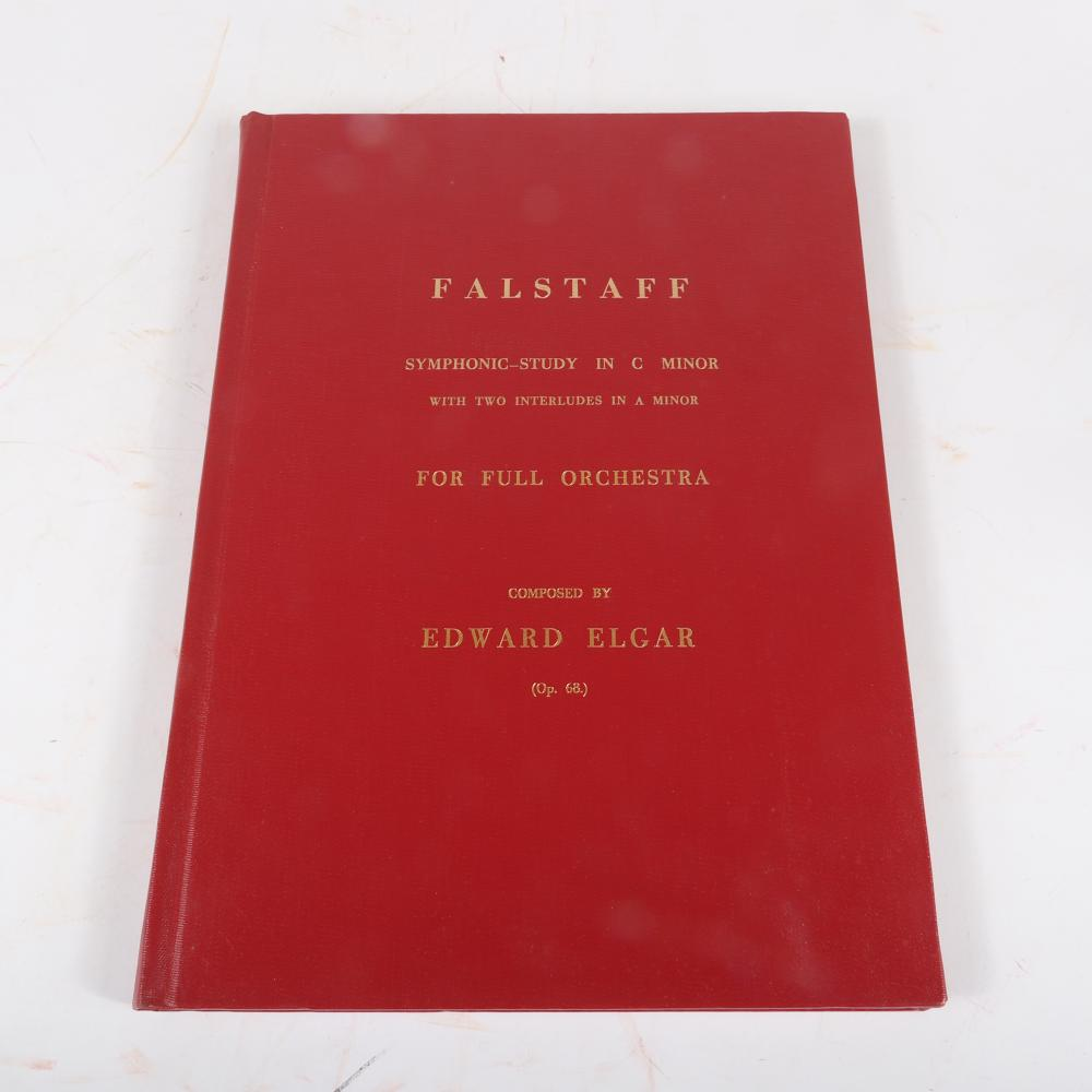 "Two Edward Elgar scores: Falstaff Symphonic-Study in C Minor, Novello and Co., 1941 and Symphony No. 2 (in E Flat) for Full Orchestra, London, Novello and Co., 1911. 2/3""H x 12 1/4""W x 18""D (Falstaff)"