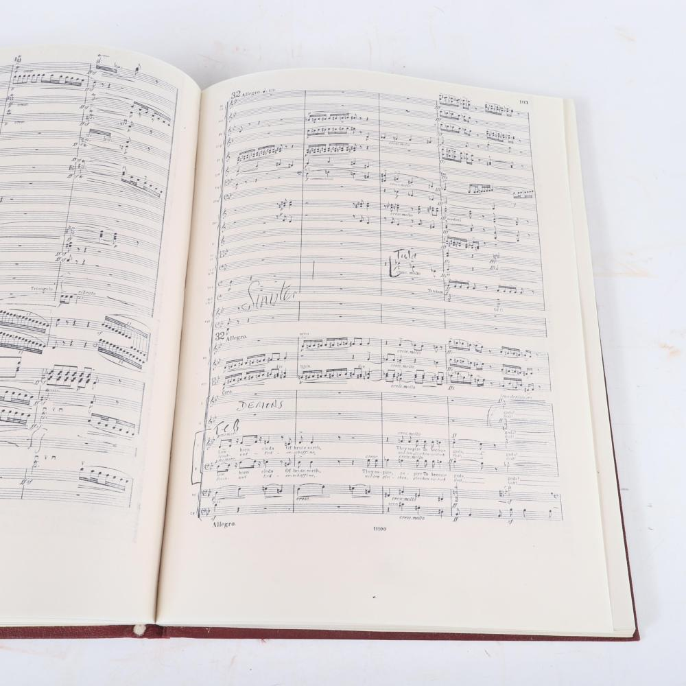 "Three Elgar books/scores: Two of The Dream of Gerontius by Cardinal Newman: a boxed Elgar Complete Edition with signed tributes to Raymon Leppard and the conductor's Full Score. 1 1/2""H x 12""W x 18""D (boxed Elgar)"