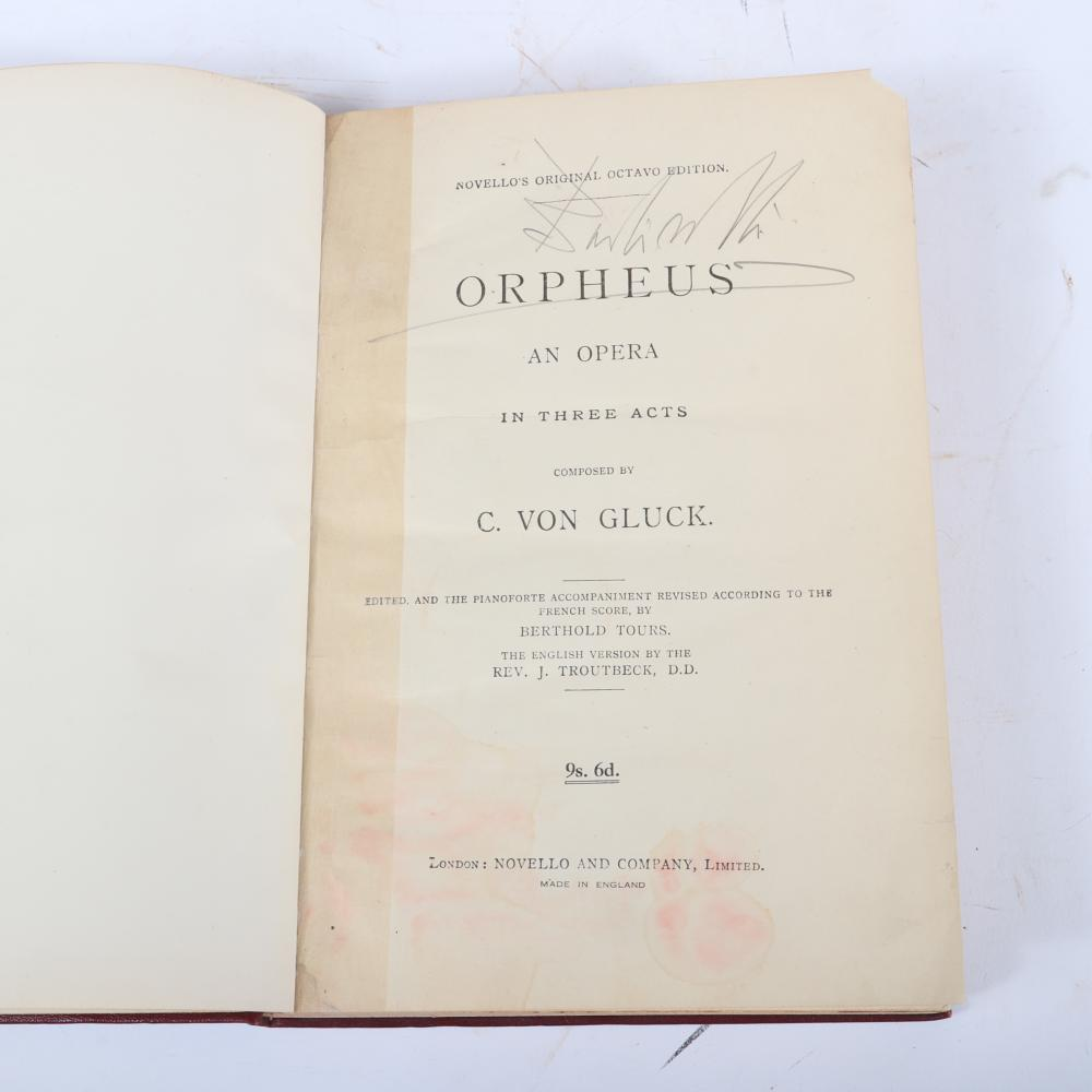 "Novello's Original Octavio Edition, Orpheus, C. Von Gluck, pianoforte by Berthold Tours, Signed by Sir John Barbirolli, with conductor notes, given to Raymond Leppard by a friend in 1971. 1 1/2""H x 7 1/""W x 10 1/4""D"