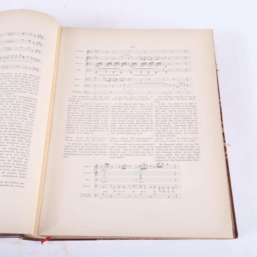 """Four Volume facsimile Musique de Gluck Operas, Publiee par M-elle F. Pelletan et B. Damcke, Paris, Simon Rechault, Editor: Alceste, Iphigenie en Tauride, Armide, Iphigenie en Aulide. 2 1/2""""H x 12""""W x 14 1/2""""D"""