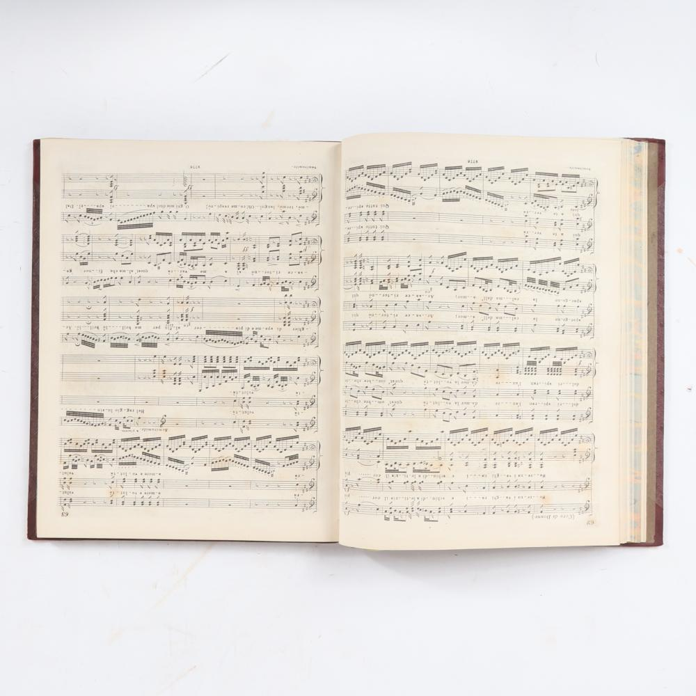 """Semiramide, Grand Opera, by G. Rossini, London, Published by Cramer, Addison & Beale, 201 Regent Street, with bookplate from family of Edward Jerningham. 3/4""""H x 10""""W x 12 1/2""""D"""