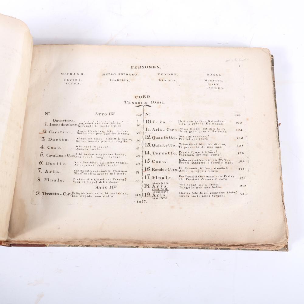 """L'Italiana in Algeri, Opera Comica in due Atti, M. Gioacchino Rossini, B. Schott figli, Magonza, First Edition, before 1820. 1 1/4""""H x 14""""W x 11""""D"""