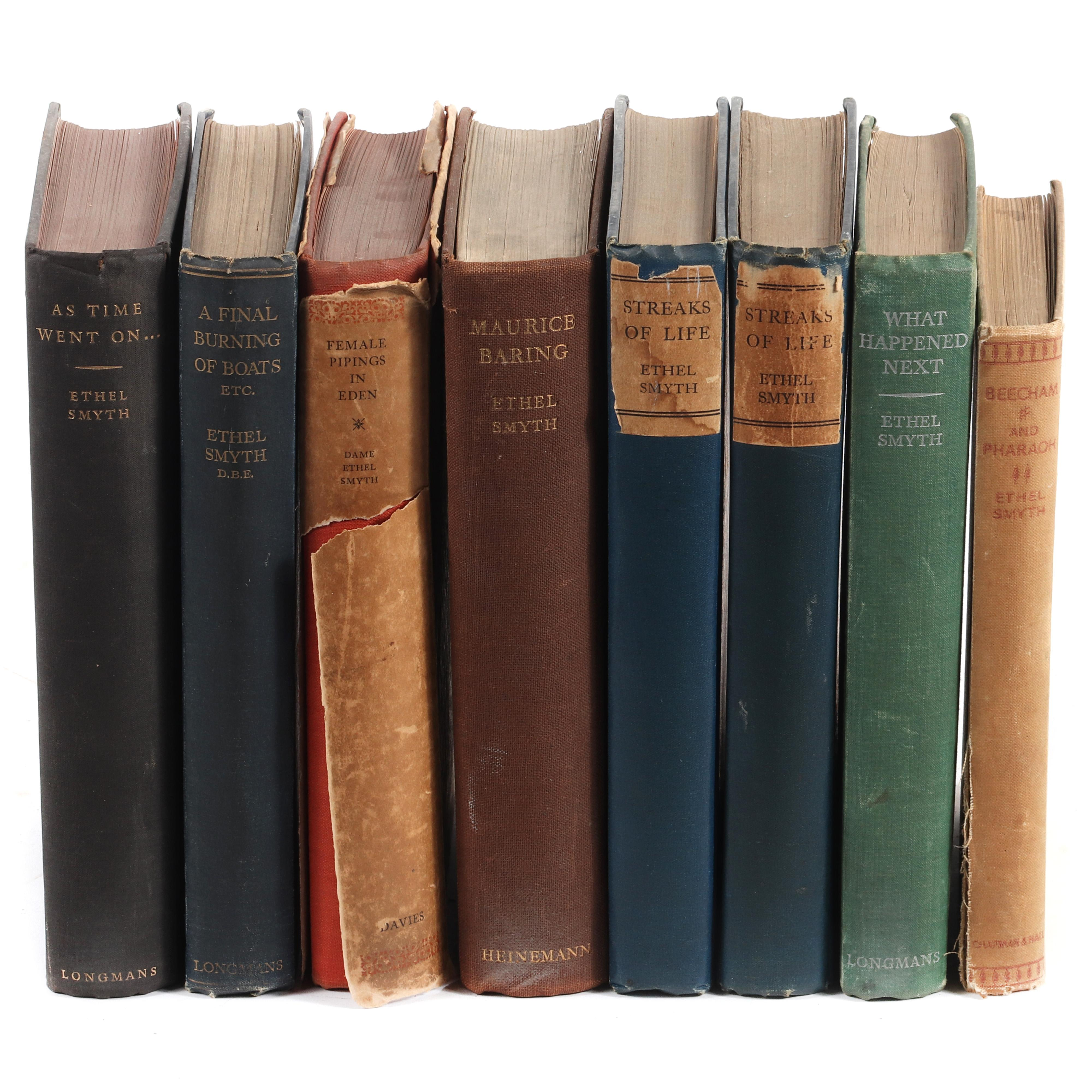 """Eight books by Dame Ethel Smyth (1858-1944) including A Final Burning of Boats Etc, Female Pipings in Eden, As Time Went On..., What Happened Next, Beecham and Pharaoh, 1 1/4""""H x 6""""W x 9""""D (average)"""