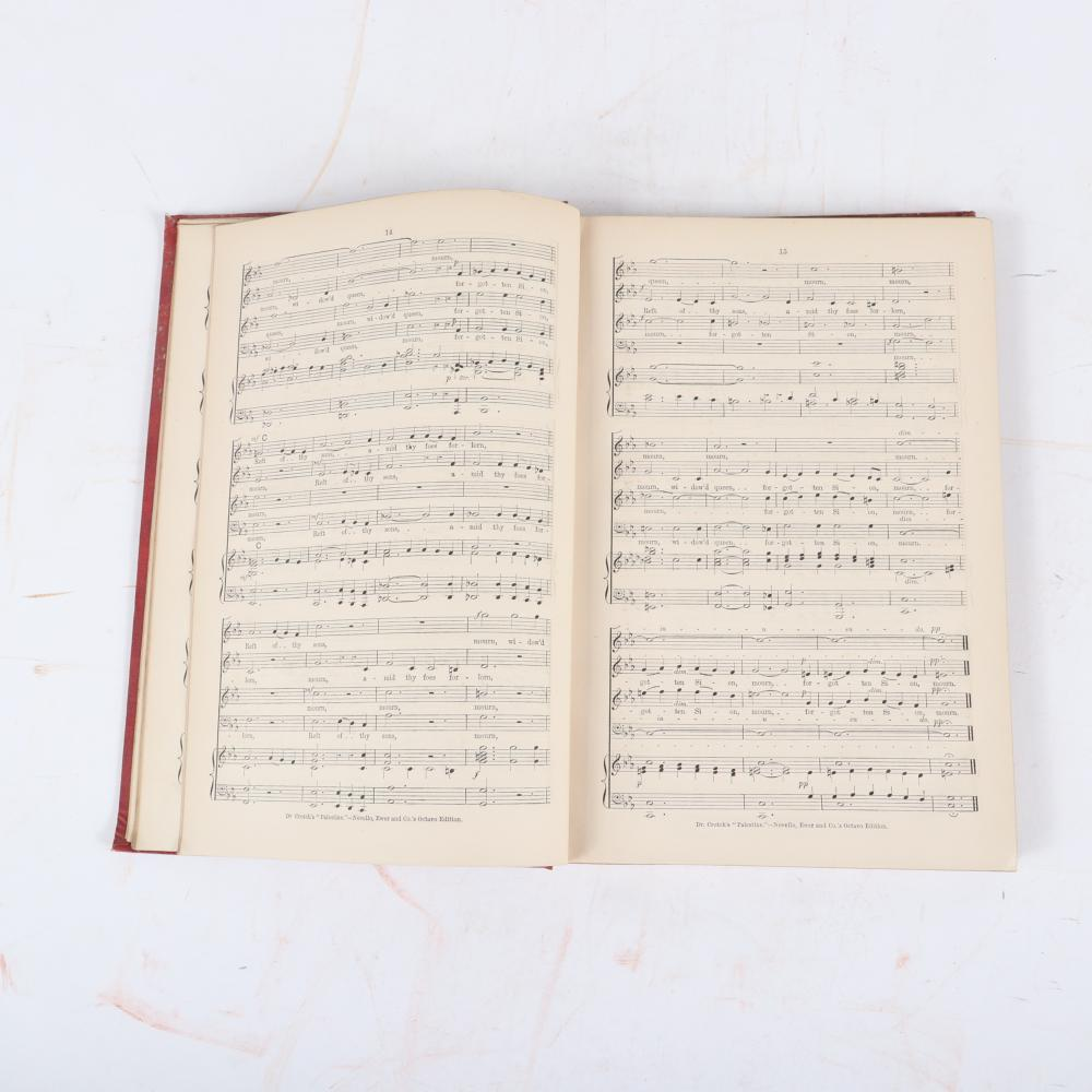 "Two books signed by English composer & organist, Charles H. Lloyd (1849-1919): The Prodigal Son, by Arthur S. Sullivan, 1869 and Palestine, composed by William Crotch, signed 1878. 1/2H x 7 3/4""W x 11""D (Prodigal Son)"