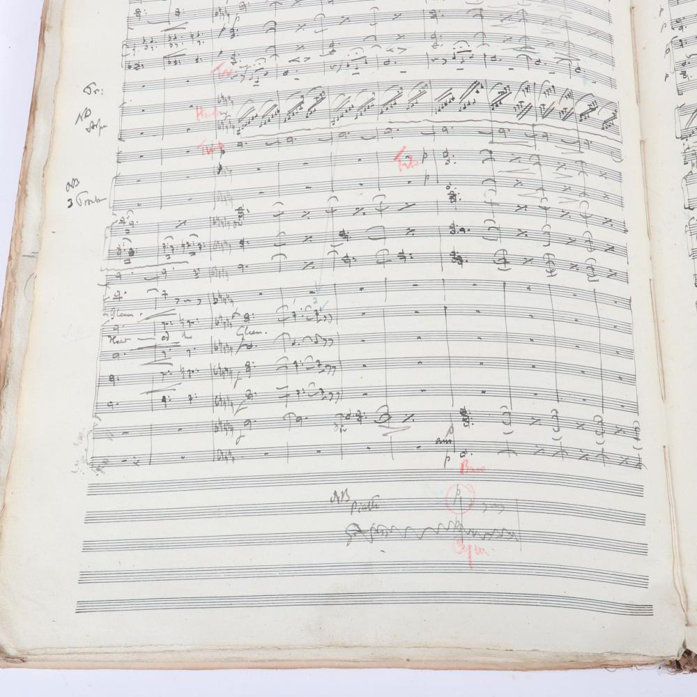 """Charles Villiers Stanford's full musical score for Alfred Lord Tennyson's """"Merlin in the Gleam"""" Copyright, Stainer & Bell. Ltd., London, pencil signed by Stanford and dated August 1, 1919. 1/4""""H x 11""""W x 1412/""""D"""