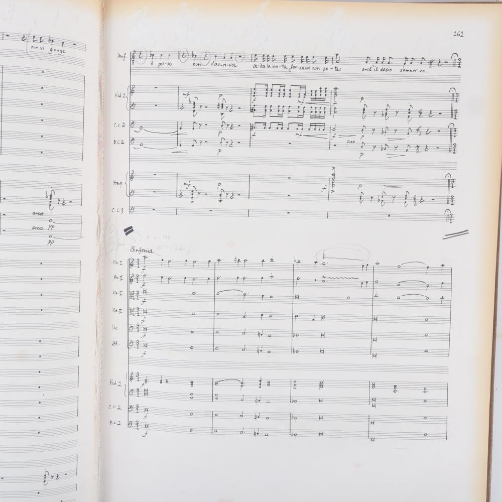 """Maestro Raymond Leppard's personal score of Claudio Monteverdi Il Ritorno D'Ulisse in Patrinia in two volumes & two acts, with Leppard's personal notes, Faber Music Ltd, London. 1 1/4""""H x 13 3/4""""W x 19""""D"""