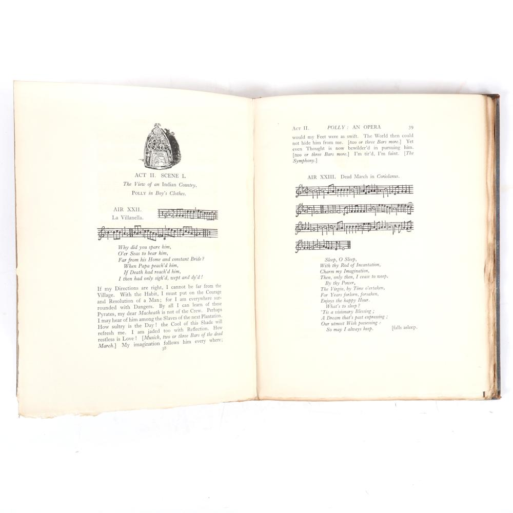 """Polly: An Opera written by MR. Gay, signed by illustrator William Nicholson, Published by William Heinemann, 1923, Limited Edition, numbered 70/350. 1""""H x 8""""W x 10 1/2""""D"""