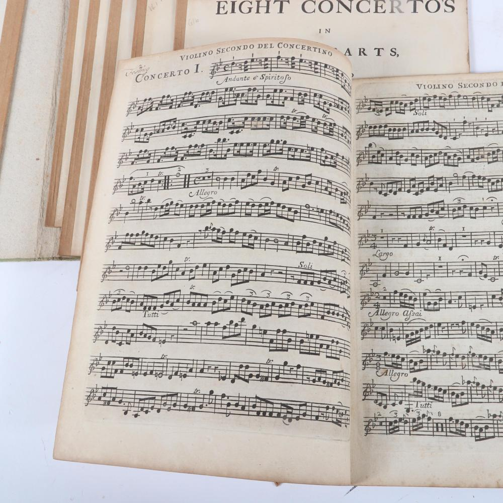 """Eight Concerto's in Seven Parts, Compos'd By Michael Christian Festing. Opera Quinta, London, Printed by William Smith, at Corelli's Head, M.DCC.XXXIX, 1739. 1/2""""H x 9 3/4""""W x 12 1/2""""D (folio cover)"""
