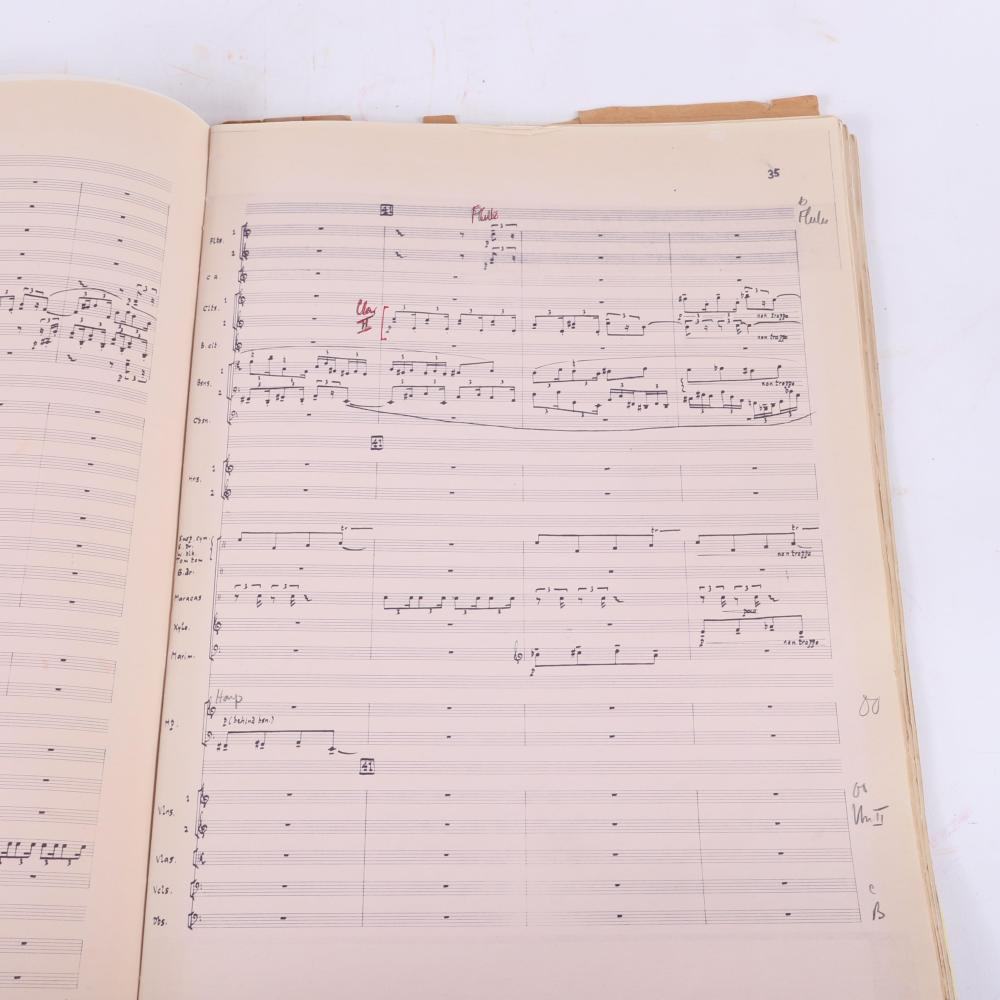 "Orchestral Score, Michael Tippett, Symphony 4, with handwritten title page and instructions for ""Wind Machine"" Synthesizer used for ""breathing effect,"" given to Maestro Leppard in 1977. 3/4""H x 12""W x 18 1/2""D"