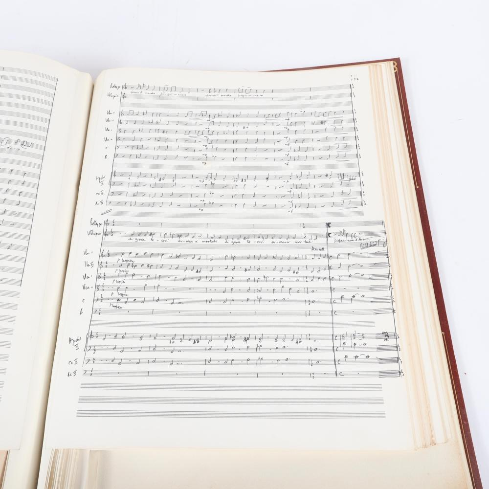 """Francesco Cavalli Lament of Egisto Full Score in three Acts and Volumes with handwritten conductor notes, leather bound with gilt, Faber Music Hire Library. 1 1/2""""H x 14""""W x 20 1/2""""D"""