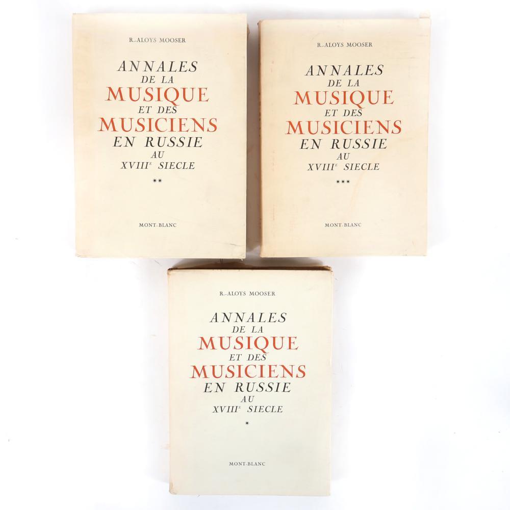"""R. Aloys Mooser, Annales De La Musique et des Musiciens en Russie Au XVIIIe Siecle, Mont-Blanc, 1946, three volume set. 1 1/2""""H x 8 1/2""""W x 12""""D (largest)"""