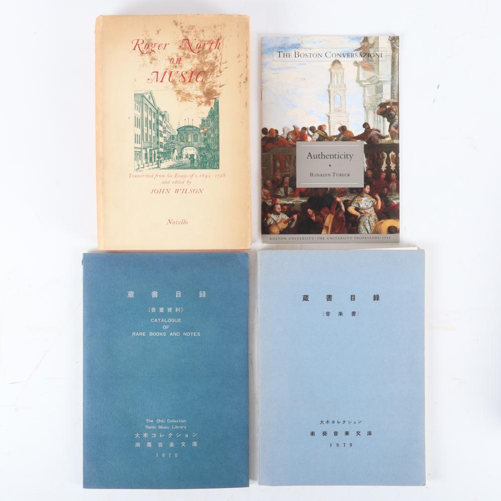 """Twelve Music Books and Scores: Music Studies signed by author, H. S. Middleton, 1945; Roger North on Music, John Wilson, 1959; Johannes Tinctoris, Dictionary of Musical Terms, 1963, 1 1/2""""H x 6 1/2""""W x 10""""D (North on Mus"""