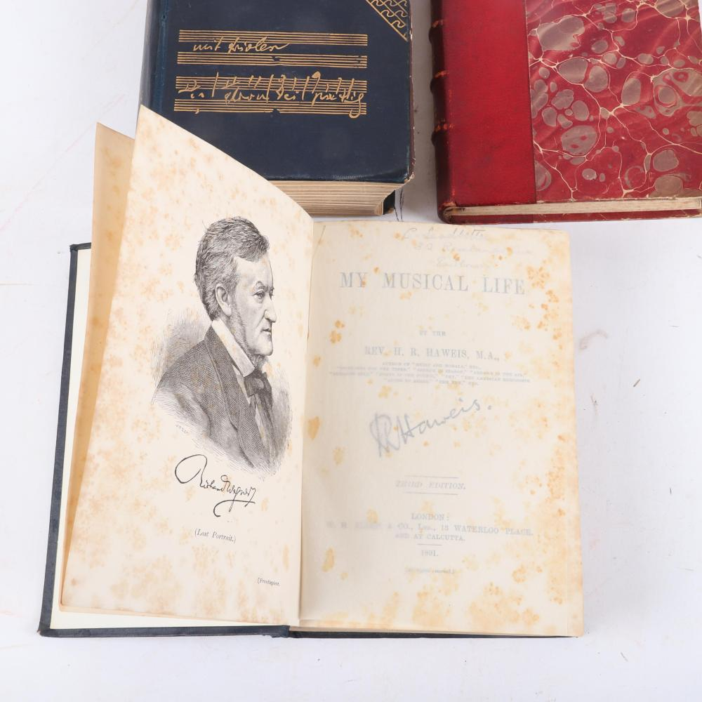 """Antique Music themed 7 books: Lady of the Lake, Rossini, 1828; L'Opera Secret au XVIII Siecle par Adolphe Jullien, 1880; My Musical Life (1891) & Music and Morals (1894), H. R. Haweis 1 1/4""""H x 3 1/2""""W x 5 3/4""""D (Poesie)"""