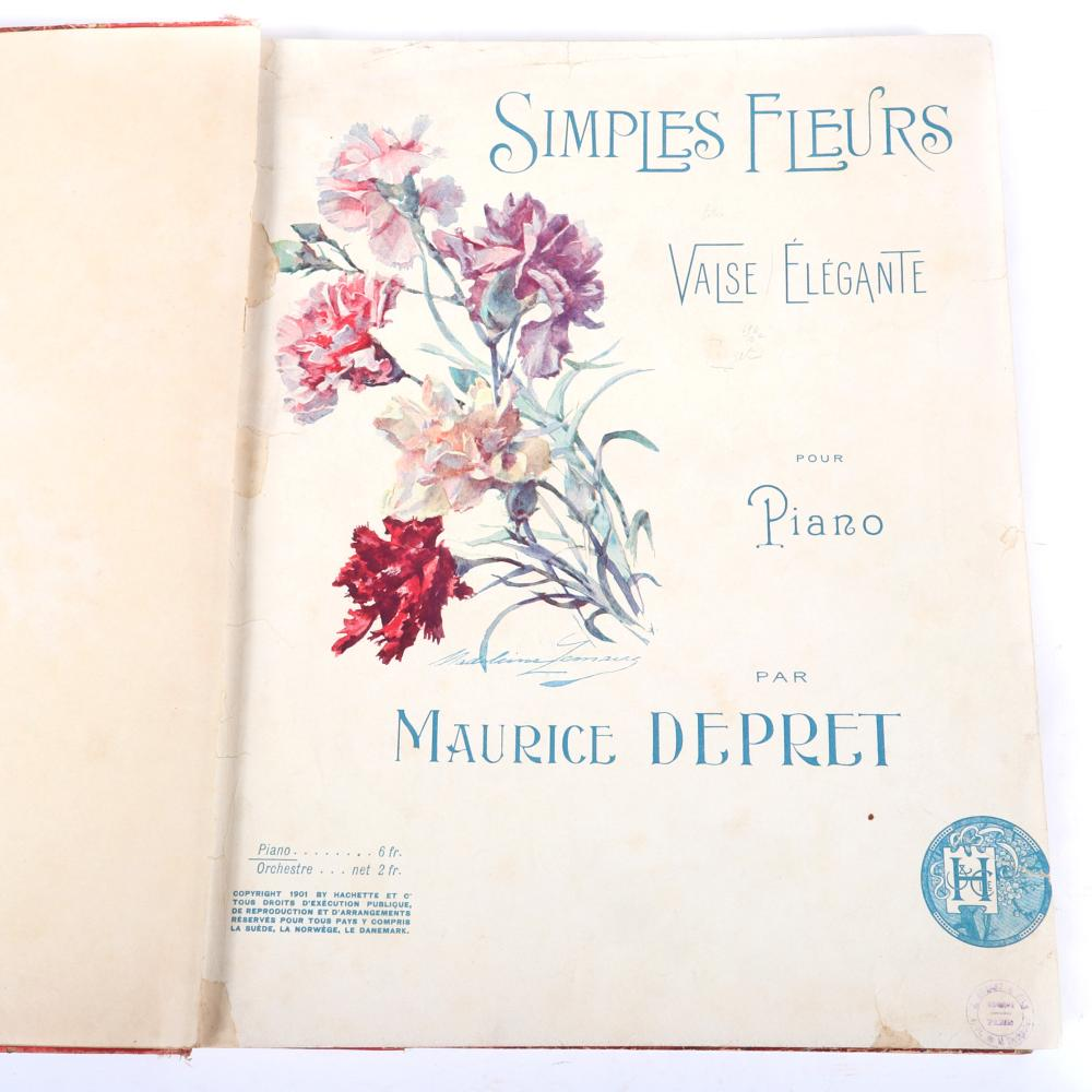 "Bound late 1800s & early 1900s 23pc. sheet music including a handwritten music score for trio Guita Celebre, Valse Lente Longroise, Louis Didet. 2/3""H x 11""W x 13 3/4""D"