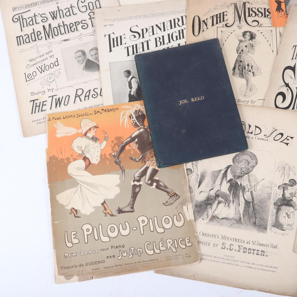 """Early 12pc sheet music: Marches, Americana and Sweetheart music: G.H. Chirwin's The Blind Boy 1892; Justin Clerice's Le Pilou-Pilou, 1907; A. Holzmann The Great American March Smoky Mokes. 14""""H x 10 1/2""""W"""