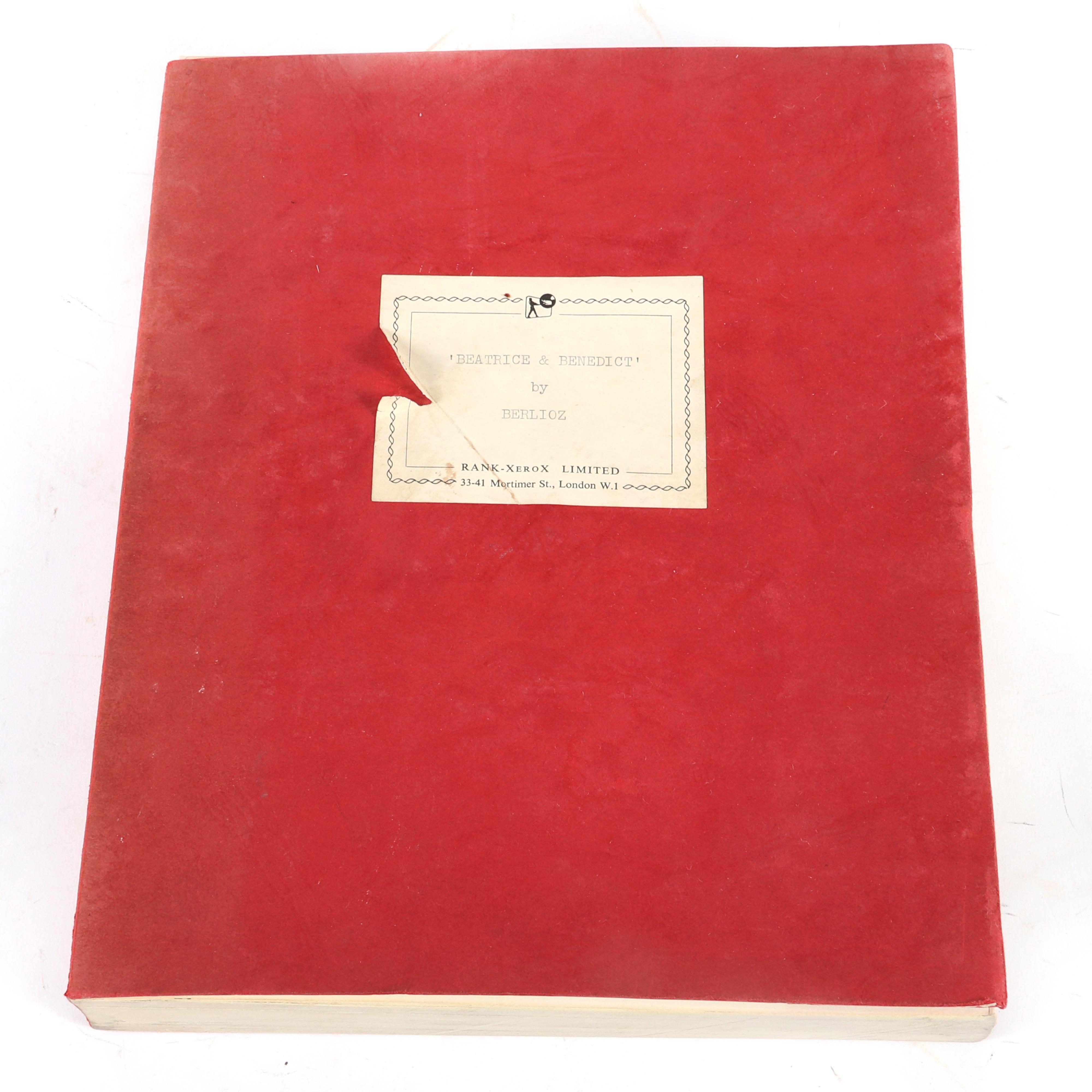"""Beatrice et Bénédict. Opéra comique en deux actes imité de Shakespeare. Paroles et musique de Hector Berlioz. Full score. Facsimile (photocopy) of the autograph manuscript. 1 1/2""""H x 9""""W x 10 3/4""""D"""