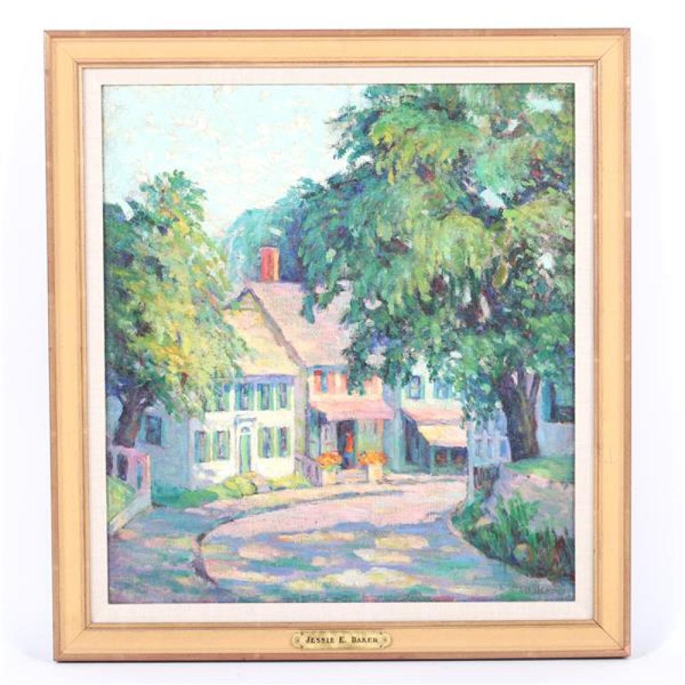 "Jessie E. Baker, (California / Washington D.C., d.1944), street scene, 1920-30, oil on canvas board, 19 1/4""H x 17 1/2""W (sight), 23 1/2""H x 21 3/4""W (frame)"