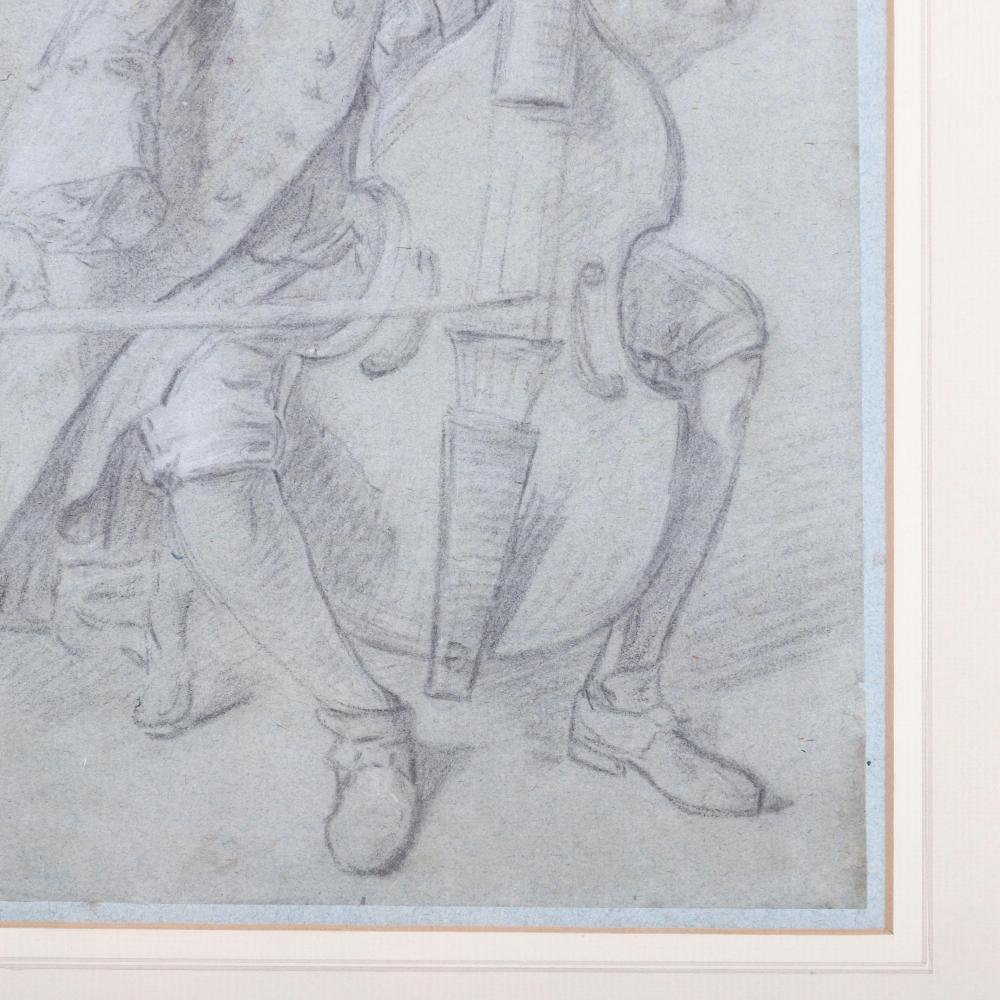 "Marin Marais portrait drawing in pencil, unsigned. 10""H x 7 3/4"" W (image) 19""H x 16 1/4""W (frame)"