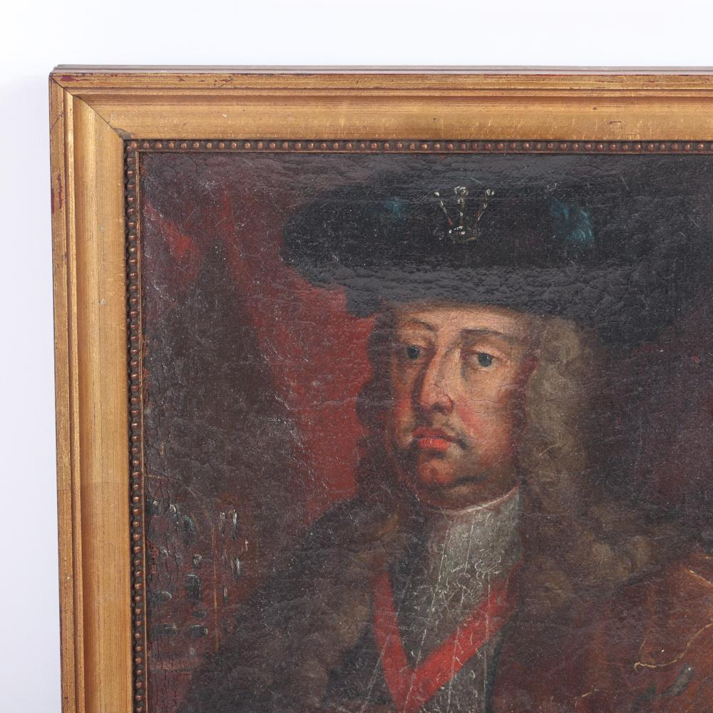 """Continental School 18th Century royal portrait of Francis I, Holy Roman Emperor, oil on canvas. 12""""H x 9 3/4""""W (image) 15""""H x 12""""W (frame)"""
