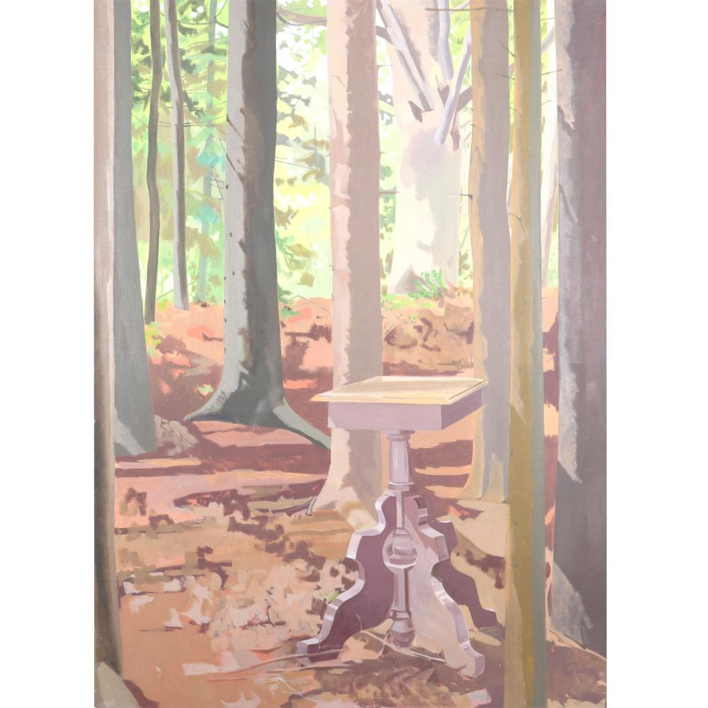 """Lois Dodd, (American, b.1927), untitled (Can't See the End Table for the Trees), oil on canvas, Canvas, 66"""" x 48""""."""