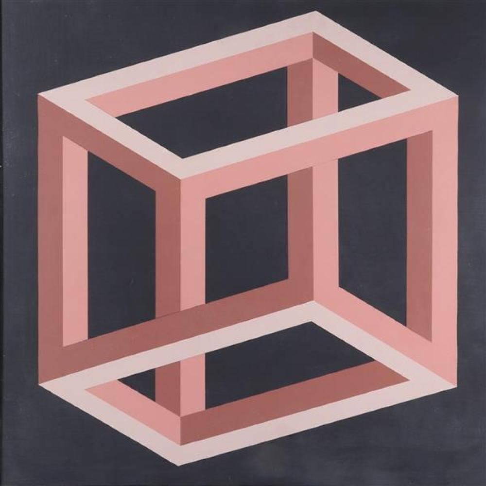 "Earle Weiner, (20th Century), Implausible Box, 1973, oil on canvas, 39 3/4""H x 39 1/2""W"