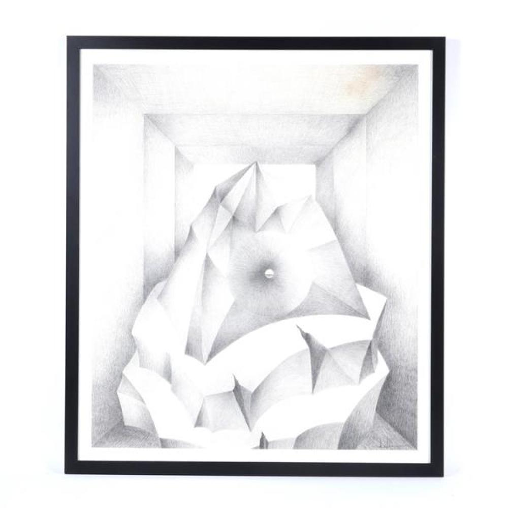 "Erwin Kalla, (Pennsylvania, 1935-2005), untitled, 1992, graphite / pencil on paper, 36""H x 3""W (sight), 41 1/2""H x 36""W (frame)"