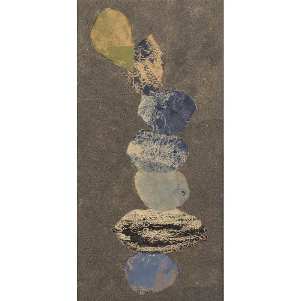 """Sonia Sekula, (New York / Switzerland, 1918-1963), untitled, 1959, mixed media collage with oil, tissue paper and sand, 21 1/2""""H x 1..."""