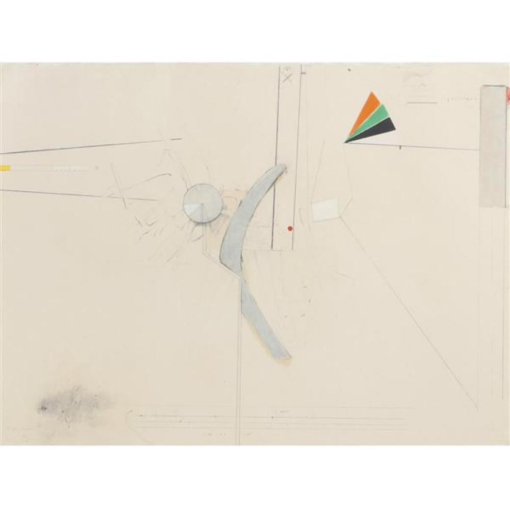 "Stephen Greene, (New York, 1917-1999), Biograph #11, 1967, mixed media on paper, 21 1/4""H x 28 3/4""W (sight), 29""H x 36""W (frame)"