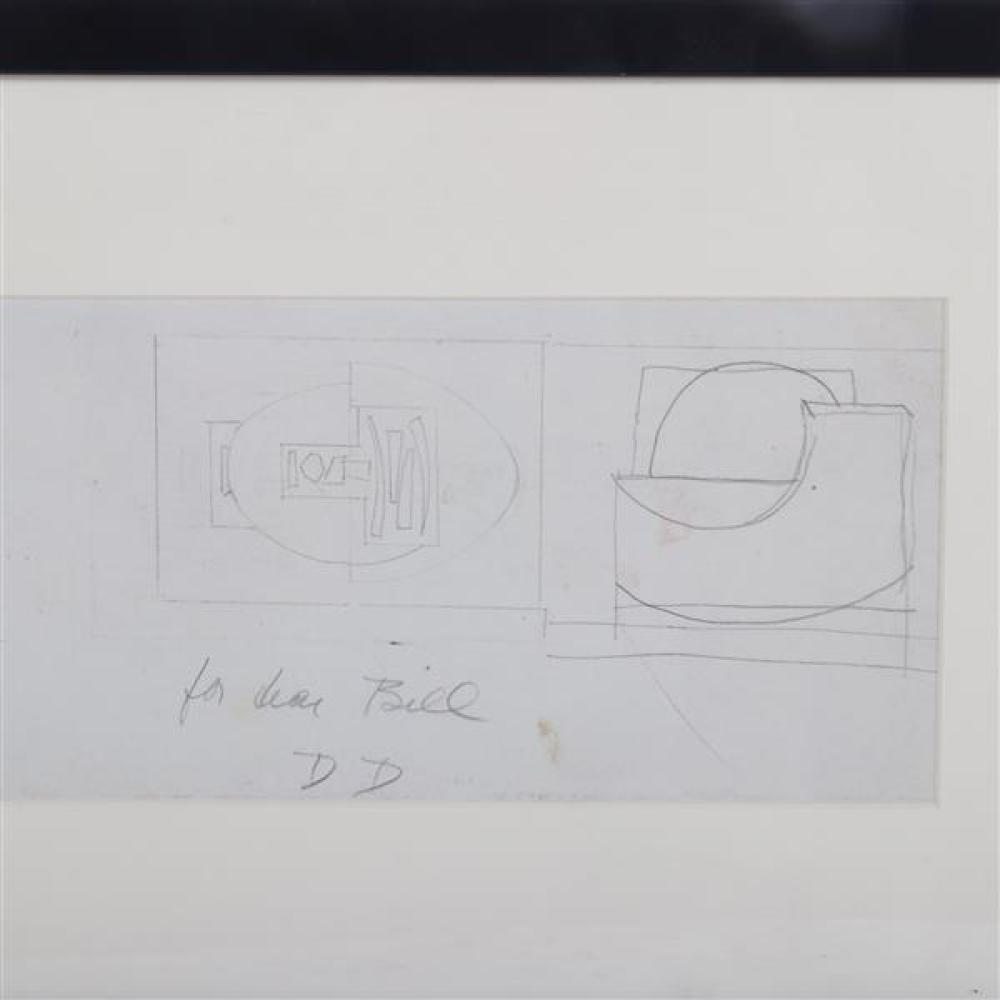 "Dorothy Dehner, (New York / Ohio, 1901-1994), For Dear Bill, graphite on paper, double sided sculpture studies, 5 1/2""H x 21 1/2""W (..."