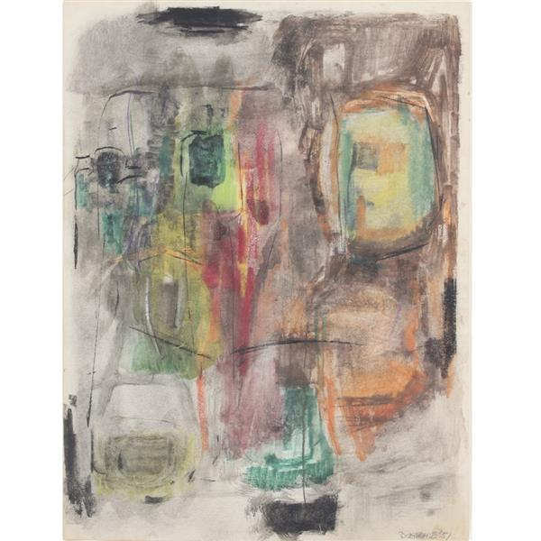 "Edward Dugmore, (New York / Connecticut / Minnesota, 1915-1996), Untitled NYC #5, 1951, charcoal, pencil, crayon on paper, 23 1/4""H..."