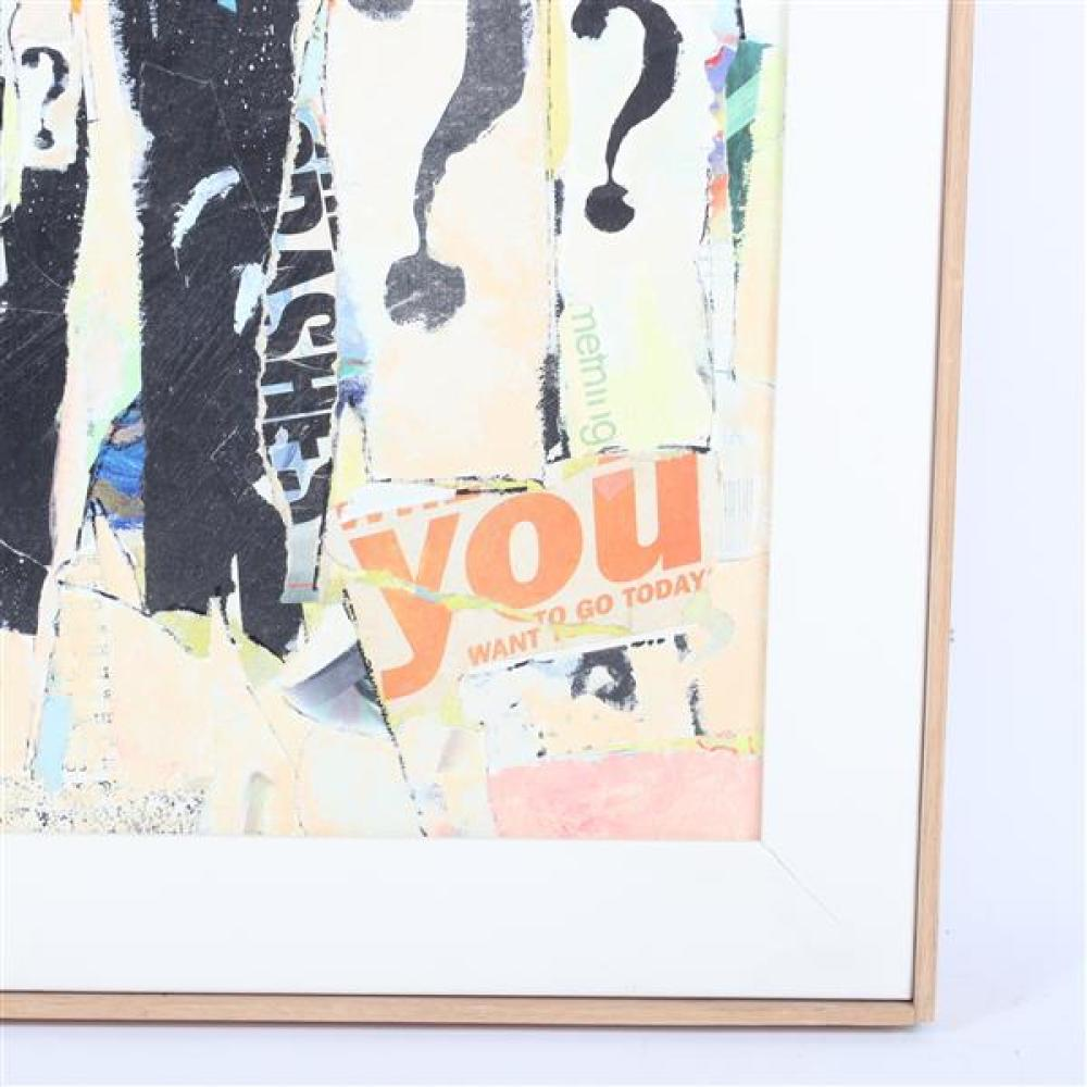 "Arthur Osver, (Missouri / New York / Illinois, 1912-2006), Why?, 1997, mixed media / oil / collage on canvas, 20 1/2""H x 2'W (sight).."