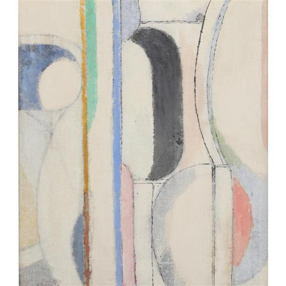 "Arthur Osver, (Missouri / New York / Illinois, 1912-2006), Interplay, 1977, ink wash on rice paper on canvas board, 13 1/4""H x 11 1/..."