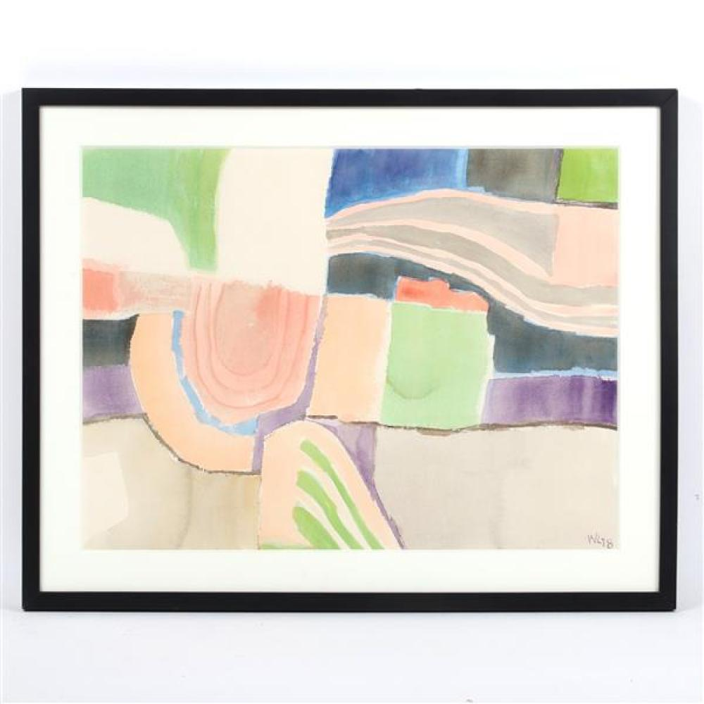 William Thomas Lumpkins, (New Mexico / California, 1908-2000), Abstract #43, 1978, watercolor on paper, 17 1/4