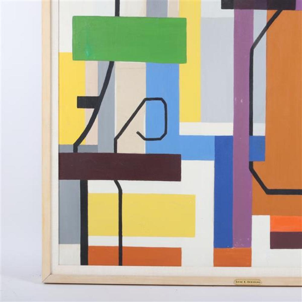 "Anne L. Lehman, (Missouri, 20th Century), geometric abstract, ca. 1950-60, LARGE oil on canvas, 47 1/4""H x 34 1/4""W (sight), 50 3/4""..."