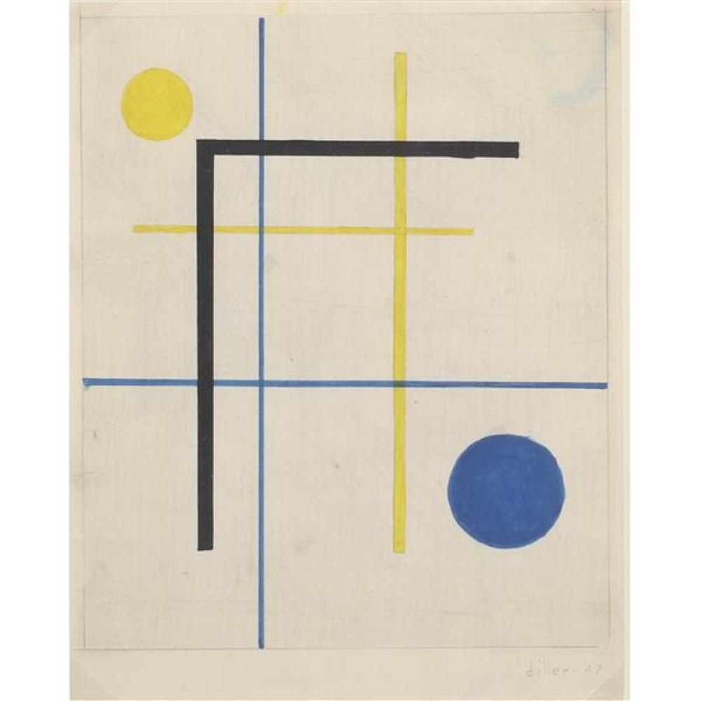 "Burgoyne A. Diller, (New York, 1906-1965), untitled, 1947, gouache and graphite on paper, 9 1/4""H x 7 1/4"" (sight), 13 1/2""H x 11 1/..."
