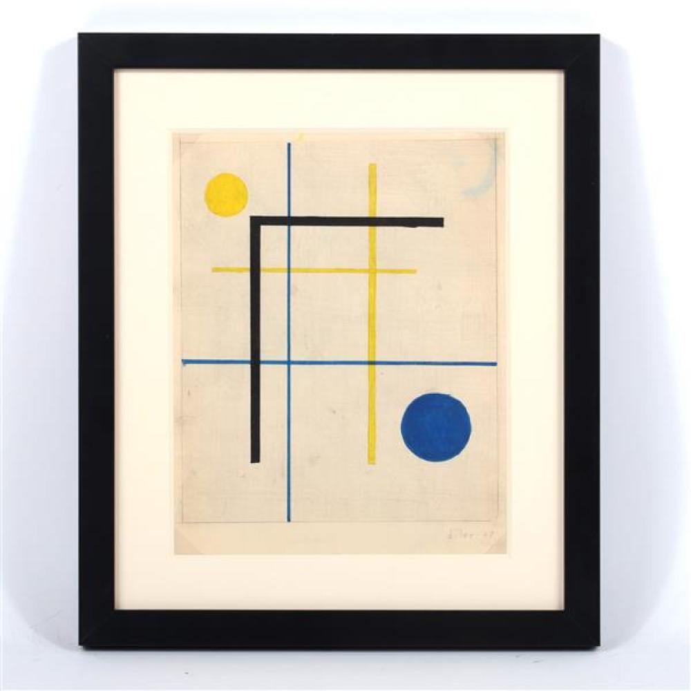 Burgoyne A. Diller, (New York, 1906-1965), untitled, 1947, gouache and graphite on paper, 9 1/4