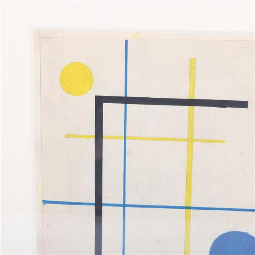"""Burgoyne A. Diller, (New York, 1906-1965), untitled, 1947, gouache and graphite on paper, 9 1/4""""H x 7 1/4"""" (sight), 13 1/2""""H x 11 1/..."""