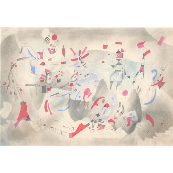 "Julio De Diego, (New York / California / Spain, 1900 - 1979), untitled, 1947, mixed media on paper, 11 1/2""H x 16 3/4""W (paper), 18..."
