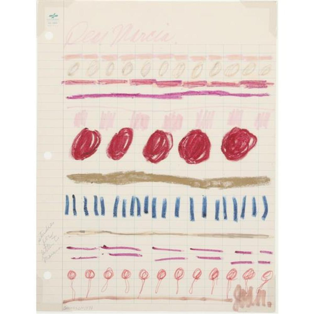 "Joan Snyder, (New York / New Jersey, b.1940), Study For Letter To Marcia, 1970, crayon and magic marker on paper, 11""H x 8 1/2""W (si..."