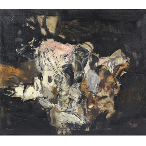 "Joyce Treiman, (California / Illinois, 1922-1991), Visit III, ca.1955-60, oil on canvas, 27 1/2""H x 32 1/2""W (sight0, 29 1/2""H x 34..."