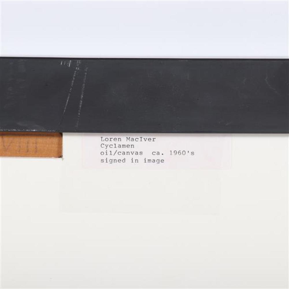 "Loren MacIver, (New York / Massachusetts, 1909-1998), Cyclamen, 1960s, oil on canvas, 21""H x 28 1/2""W (sight), 22 3/4""H x 30 1/4""W (..."