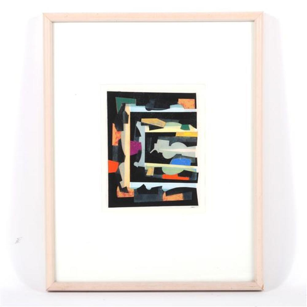 """Frederick Lynch, (American, 1935-2016), untitled, mixed media / collage on paper, 8 1/2""""H x 7""""W (sight), 19""""H x 14 3/4""""W (frame)"""